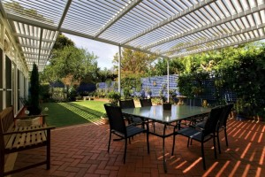 Pergola style patio in backyard